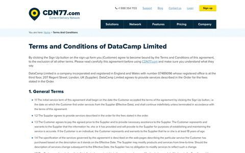 Screenshot of Terms Page cdn77.com - Terms And Conditions | CDN77.com - captured Jan. 15, 2016