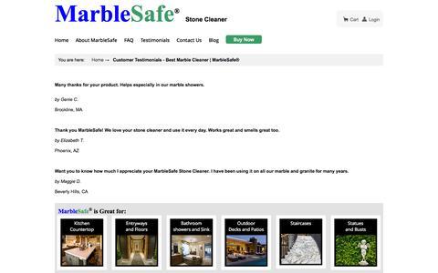 Screenshot of Testimonials Page marblesafe.com - Customer Testimonials - Best Marble Cleaner | MarbleSafe® - captured Nov. 3, 2014