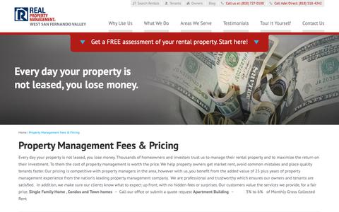 Screenshot of Pricing Page rpmsanfernandovalley.com - Property Management Fees San Fernando Valley CA - captured Oct. 18, 2018