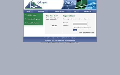 Screenshot of Login Page gulfcoastbiz.com - SBA 504 Loans - Gulfcoast Business Finance - captured Oct. 3, 2014