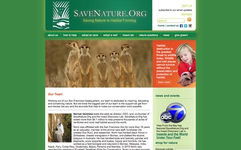 Screenshot of Team Page savenature.org - Save Nature - about us - Our Team - captured June 15, 2016