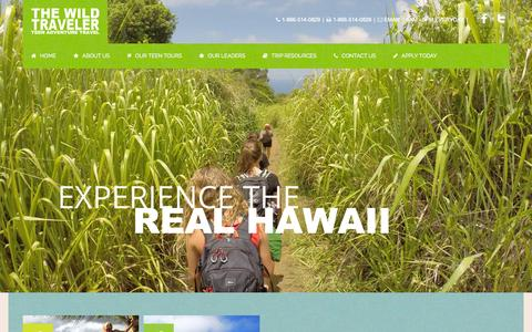 Screenshot of Home Page thewildtraveler.com - The Wild Traveler | Summer Travel Programs | Teen Tours | Travel Camps - captured Oct. 9, 2014