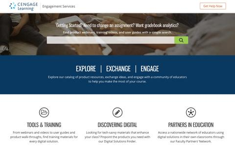 Screenshot of Services Page cengage.com - Services - Cengage Learning - captured Aug. 17, 2016
