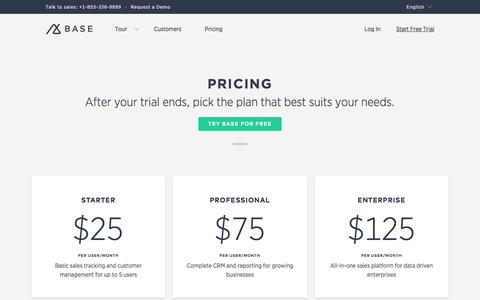 Screenshot of Pricing Page getbase.com - Plans and Pricing | Base CRM Base - captured Dec. 3, 2015