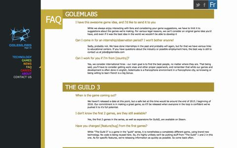 Screenshot of FAQ Page golemlabs.com - GolemLabs - captured Nov. 2, 2014