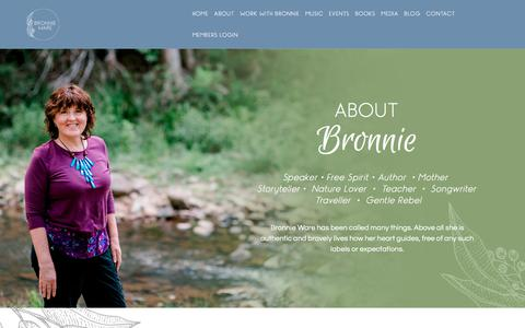 Screenshot of About Page bronnieware.com - About Bronnie - Bronnie Ware - captured Sept. 22, 2018
