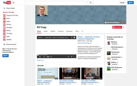 Screenshot of YouTube Page youtube.com - Bill Hogg  - YouTube - captured Oct. 24, 2014