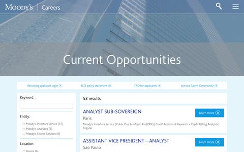 Screenshot of Jobs Page moodys.com - Moodys - captured Dec. 4, 2018