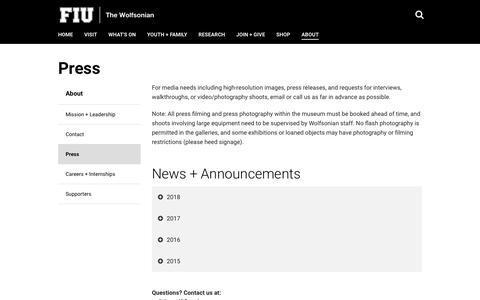 Screenshot of Press Page wolfsonian.org - Press | The Wolfsonian | Florida International University | FIU - captured Oct. 18, 2018