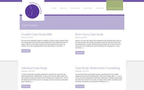 Screenshot of Case Studies Page exploringucounselling.co.uk - Case Studies | exploringU counselling - captured Oct. 3, 2014