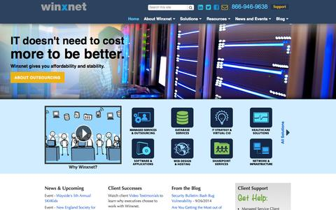Screenshot of Home Page winxnet.com - IT Consulting and Managed Services | Winxnet - captured Oct. 1, 2014