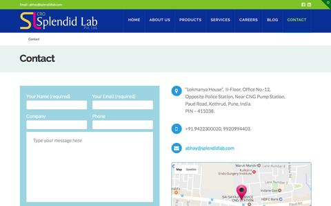 Screenshot of Contact Page splendidlab.com - Custom Synthesis Company in India:Splendid Lab-The Persuit of Purity - captured May 9, 2017