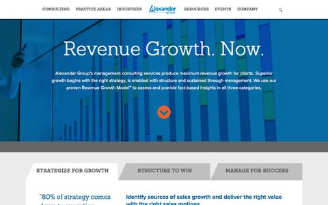 Screenshot of Home Page alexandergroup.com - Superior Proven Revenue Growth Now | Alexander Group - captured Sept. 23, 2015