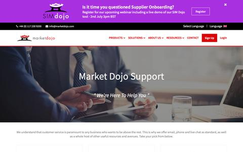 Screenshot of Contact Page Support Page marketdojo.com - Market Dojo Support | Procurement and eSourcing Software - captured June 24, 2019