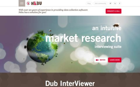 Screenshot of Home Page nebu.com - Market research software for data collection and panel management - captured Sept. 23, 2014