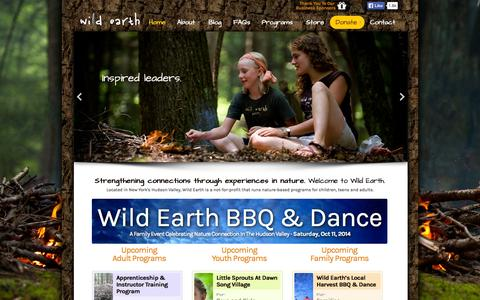 Screenshot of Home Page wildearth.org - Nature Connection in NY's Hudson Valley | Wild Earth - captured Oct. 7, 2014