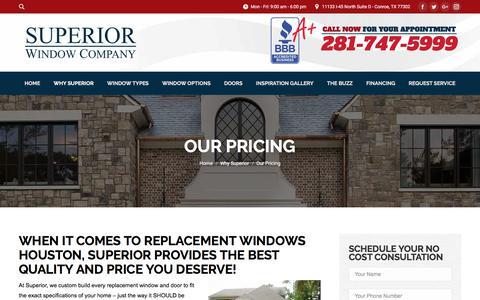 Screenshot of Pricing Page superiorwindowcompany.com - Replacement Windows Houston - Superior Window Company - captured Sept. 21, 2018