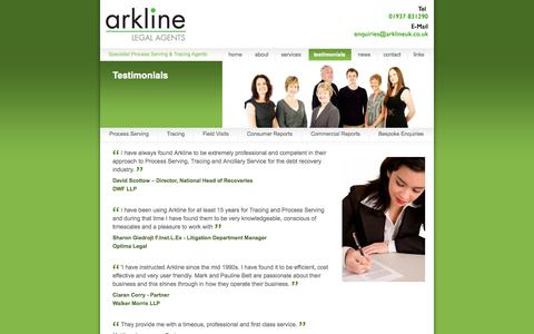 Screenshot of Testimonials Page arklineuk.co.uk - Process Server, Tracing Agent - Arkline Legal Agents - captured Oct. 4, 2014