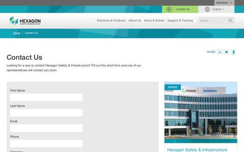 Screenshot of Contact Page hexagonsafetyinfrastructure.com - Contact Us | Hexagon Safety & Infrastructure - captured Nov. 1, 2018