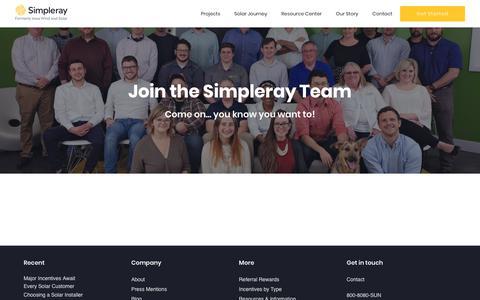 Screenshot of Jobs Page simpleray.com - Careers - captured Oct. 12, 2018