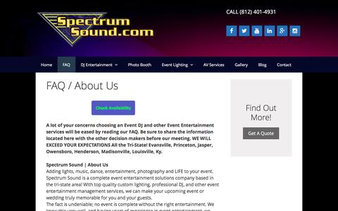 Screenshot of FAQ Page spectrumsound.com - Event Entertainment Services FAQ - captured June 23, 2016
