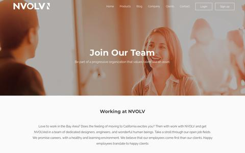 Screenshot of Jobs Page nvolv.co - Careers - NVOLV - captured July 9, 2018