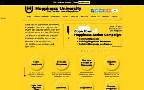 Screenshot of Home Page happiness-university.org - Happiness University - captured Sept. 29, 2014