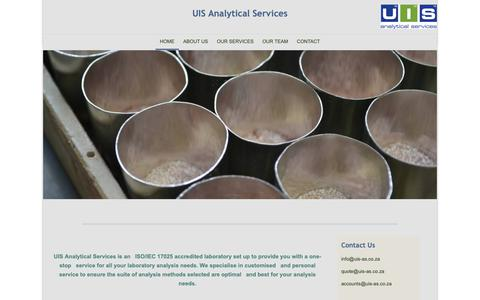 Screenshot of Home Page uis-as.co.za - UIS Analytical Services - Home - captured Sept. 30, 2018