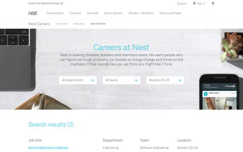 Screenshot of Jobs Page nest.com - Positions | Careers | Nest - captured Jan. 14, 2018
