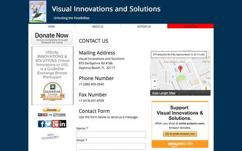 Screenshot of Contact Page visualinnovations.us - VIS - Contact Us - captured Nov. 30, 2016