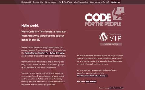 Screenshot of Home Page codeforthepeople.com - Code For The People | WordPress design, development and consultancy for the UK - captured Sept. 19, 2014