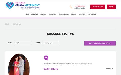 Screenshot of Testimonials Page vimalamatrimony.com - Diocese Kanjirappally | Matrimony Vimala|-Success Stories in Syro-Malabar Matrimony - Catholic Matrimony, Christian Matrimony, Kerala Catholic Matrimonial - captured Nov. 23, 2017