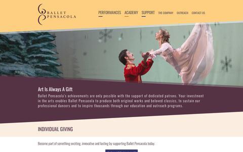Screenshot of Support Page balletpensacola.com - Ballet Pensacola - captured Nov. 1, 2018