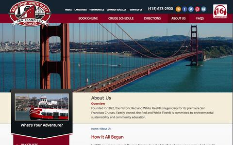 Screenshot of About Page redandwhite.com - About Us - Red and White Fleet Cruises - captured Oct. 9, 2014