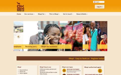 Screenshot of Home Page okapifinance.com - Okapi - captured Aug. 16, 2015