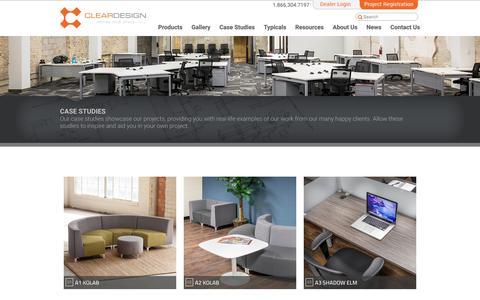 Screenshot of Case Studies Page mycleardesign.com - Modern Office Design Examples - captured Jan. 28, 2016