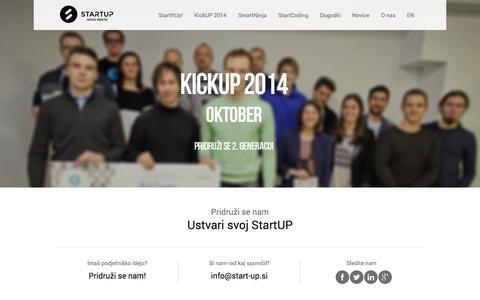 Screenshot of Home Page start-up.si - StartUP Novo mesto  | Ustvari svoj StartUP - captured Oct. 7, 2014