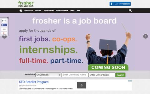 Screenshot of Home Page frosher.com - Education in India, Network of Students to connect with Alumni and Institutes | Frosher - captured Sept. 22, 2014