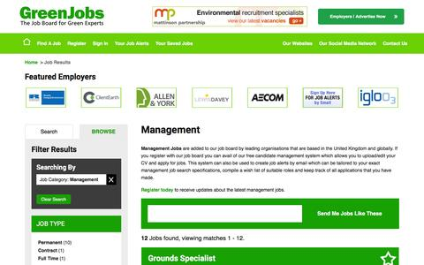 Screenshot of Team Page greenjobs.co.uk - Management in the UK - captured July 19, 2016