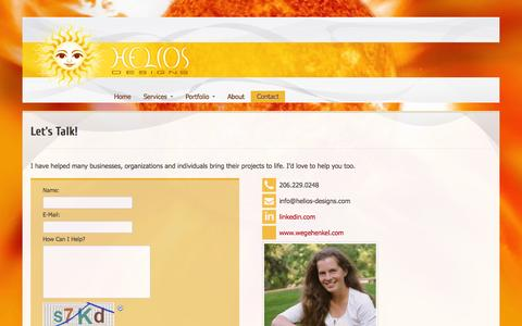 Screenshot of Contact Page helios-designs.com - Let's Talk! « helios-designs - captured Oct. 2, 2014