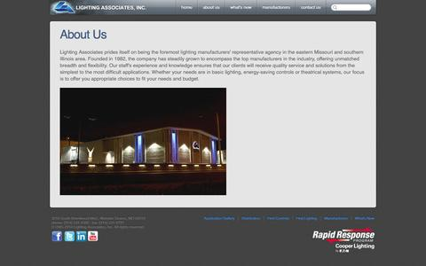 Screenshot of About Page laiweb.net - About Us - About Lighting Associates, Inc. - captured Oct. 2, 2014