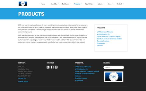 Screenshot of Products Page omlinc.com - Products - captured June 18, 2017