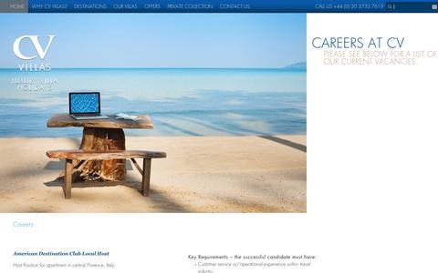 Screenshot of Jobs Page cvvillas.com - CV Villas - captured July 10, 2016
