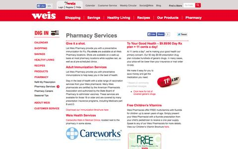 Screenshot of Services Page weismarkets.com - Pharmacy Services   Weis Markets - captured Oct. 26, 2014