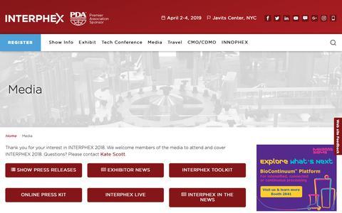Screenshot of Press Page interphex.com - Media - INTERPHEX - captured Jan. 18, 2019