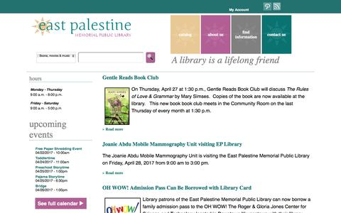 Screenshot of Home Page east-palestine.lib.oh.us - East Palestine Memorial Public Library - captured April 23, 2017