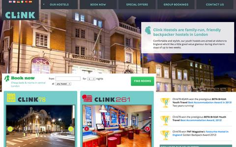 Screenshot of Home Page clinkhostels.com - Cheap Hostels In Central London - Clink78 & Clink261 | Clink Hostels - captured Sept. 18, 2014