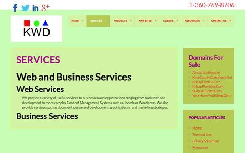 Screenshot of Services Page kitsapwebdevelopment.com - Services - captured Jan. 9, 2016