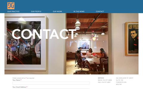 Screenshot of Contact Page dgllp.ca - Contact | Dewart Gleason LLP - captured Oct. 9, 2018