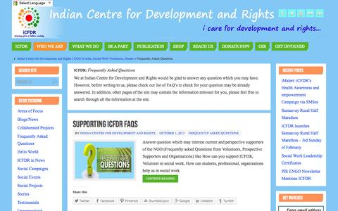 Screenshot of FAQ Page icfdr.org - Frequently Asked Questions   - Indian Centre for Development and Rights I NGO in India, Social Work Volunteers, Donate - captured Oct. 6, 2014